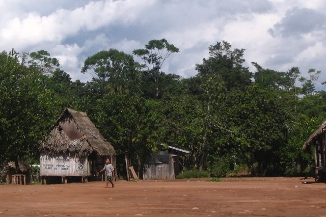A village on the Isconahua reserve in the Madre de Dios region of Peru near the border with Brazil. The inter-continental railway would bisect the reserve (image IBC ).