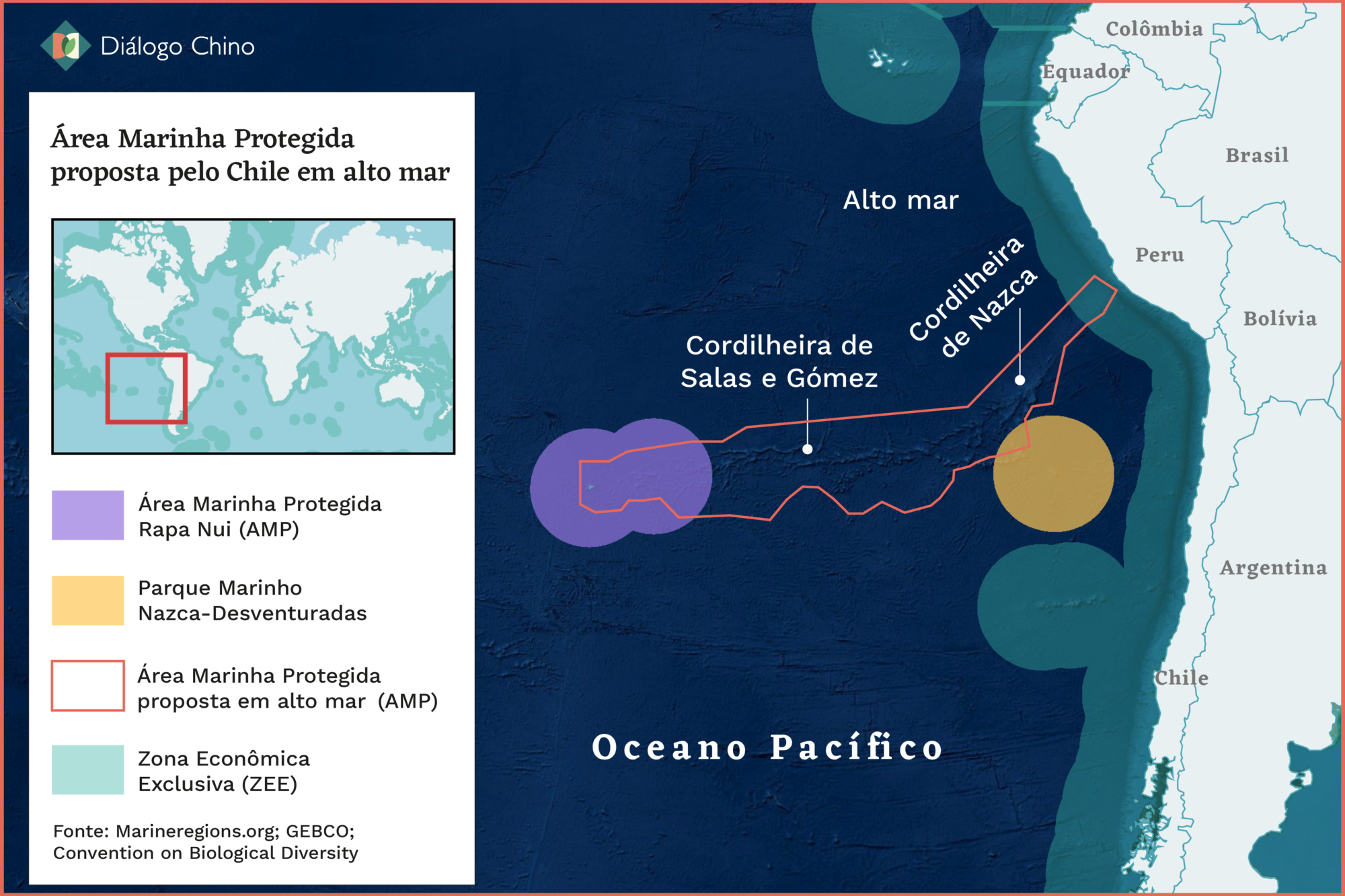 Chile oceanos Pacífico Oriental AMPs ZEEs