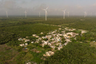 Dzilam de Bravo, Yucatán. - Aerial view of the Flamingos subdivision in the municipality of Dzilam de Bravo. This residential area is the closest to the Wind Farm that began operations at the end of 2018. Photo: Cuauhtémoc Moreno.